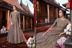 Grey color Net Fabric Floor Length Anarkali style Suit