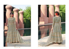 Greyish Blue color Net Fabric Floor Length Anarkali style Suit