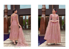 Pink color Net Fabric Floor Length Anarkali style Suit