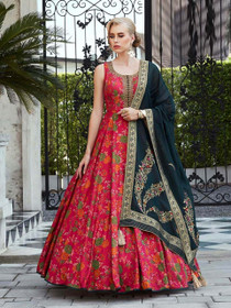 Red color Pure Silk Fabric Floor Length Cut Sleeves Printed Gown
