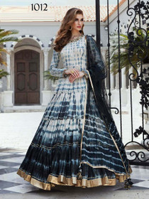 Grey and Black color Pure Cotton Fabric Floor Length Full Sleeves Gown