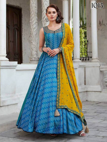 Blue color Pure Silk Fabric Floor Length Cut Sleeves Gown