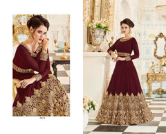 Maroon color Embroidered Real Georgette Fabric Anarkali style Suit