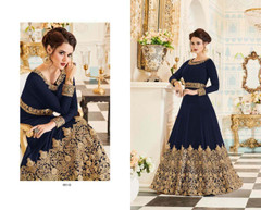 Royal Blue color Embroidered Real Georgette Fabric Anarkali style Suit
