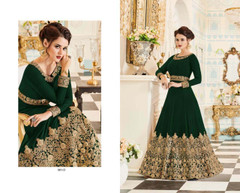 Dark Green color Embroidered Real Georgette Fabric Anarkali style Suit