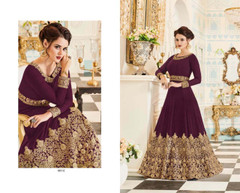 Purple color Embroidered Real Georgette Fabric Anarkali style Suit
