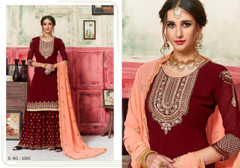Red color Georgette Fabric Embroidered Indowestern style Suit