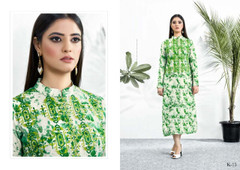 White and Green color Muslin Fabric Kurti