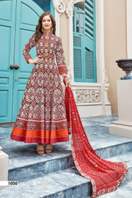 Cream and Red color Silk Fabric Anarkali style Suit