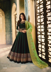 Bottle Green color Full Sleeves Floor Length Satin Georgette Fabric Anarkali style Suit