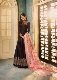 Chocolate color Full Sleeves Floor Length Satin Georgette Fabric Ban Neck Design Anarkali style Suit