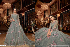 Grey color Full Sleeves Floor Length Net Fabric Anarkali style Suit