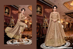 Beige color Full Sleeves Net Fabric Centre Cut Indowestern style Suit
