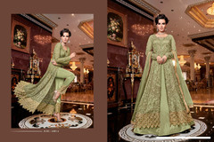 Olive Green color Full Sleeves Net Fabric Centre Cut Indowestern style Suit