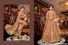 Peach color Full Sleeves Net Fabric Centre Cut Indowestern style Suit