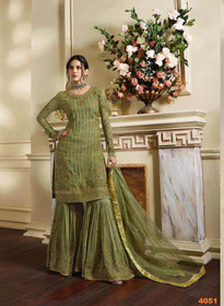Mehndhi Green color Pure Satin Fabric Sharara style Suit