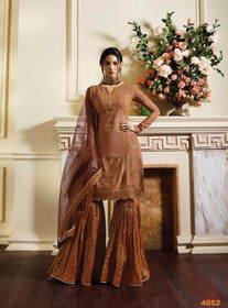 Brown color Pure Satin Fabric Sharara style Suit