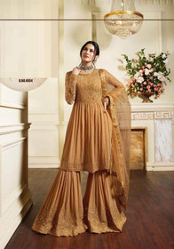 Brown color Pure Georgette Fabric Sharara style Suit