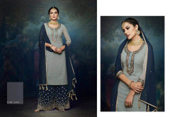 Powder and Navy Blue color Georgette Fabric Suit