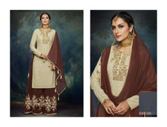Cream and Chocolate color Georgette Fabric Suit