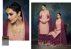 Pink and Purple color Georgette Fabric Suit