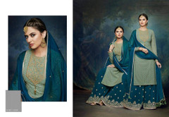 Green and Blue color Georgette Fabric Suit