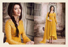 Yellow color Georgette Fabric Hi Low Full Sleeves Anarkali style Suit