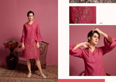 Pink color Two Tone Cotton Fabric Kurti