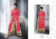 Pink and Cream color Tussar Silk Fabric Ban Neck Design Centre Cut Indowestwrn style Suit