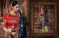Royal Blue color Pure Banarasi Jacquard Fabric Saree