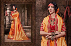 Orange color Pure Banarasi Jacquard Fabric Saree