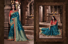 Blue color Pure Banarasi Jacquard Fabric Saree