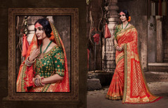 Red color Pure Banarasi Jacquard Fabric Saree