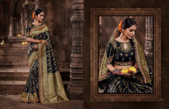 Black color Pure Banarasi Jacquard Fabric Saree