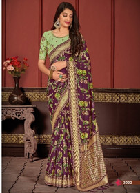 Purple color Banarasi Silk Fabric Saree