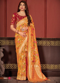 Orange color Banarasi Silk Fabric Saree