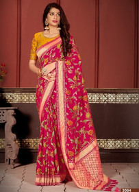 Magenta color Banarasi Silk Fabric Saree