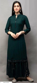 Bottle Green color Rayon Cotton Fabric Ban Neck Design Bottom and Palazzo