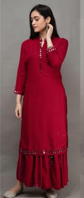 Red color Rayon Cotton Fabric Ban Neck Design Bottom and Palazzo