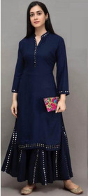 Navy Blue color Rayon Cotton Fabric Ban Neck Design Bottom and Palazzo