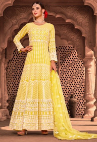 Yellow color Full Sleeves Floor Length Net Fabric Anarkali style Suit