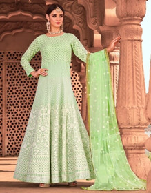 Green color Full Sleeves Floor Length Net Fabric Anarkali style Suit