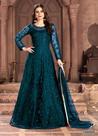 Turquoise Blue color Full Sleeve Floor Length Net Fabric Anarkali style Suit
