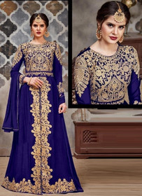 Indigo color Full Sleeves Floor Length Centre Cut Heavily Embroidered Faux Georgette Fabric Indowestern Style Suit