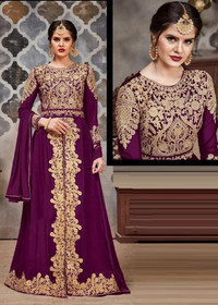 Purple color Full Sleeves Floor Length Centre Cut Heavily Embroidered Faux Georgette Fabric Indowestern Style Suit