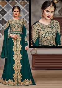Green color Full Sleeves Floor Length Centre Cut Heavily Embroidered Faux Georgette Fabric Indowestern Style Suit