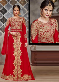 Red color Full Sleeves Floor Length Centre Cut Heavily Embroidered Faux Georgette Fabric Indowestern Style Suit