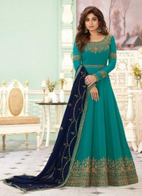 Blue color Full Sleeves Floor Length Embroidered Real Georgette Fabric Anarkali style Suit