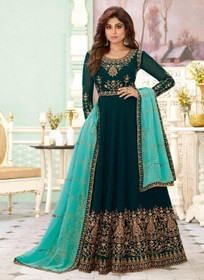 Turquoise Blue color Full Sleeves Floor Length Embroidered Real Georgette Fabric Anarkali style Suit