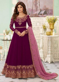Purple color Full Sleeves Floor Length Embroidered Real Georgette Fabric Anarkali style Suit